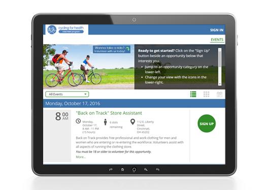 VolunteerHub's user interface