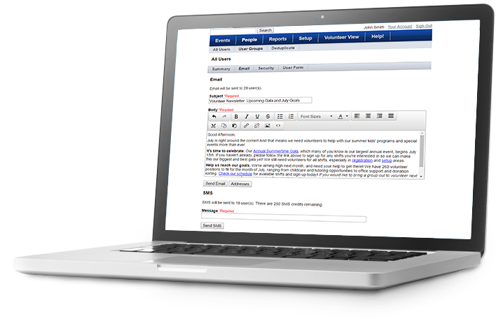 Screenshot of VolunteerHub Automated Communications Email setup on a laptop