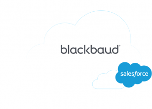 Blackbaud and Salesforce cloud logos signifying their VolunteerHub True CRM Integration partnership