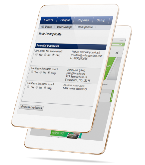 screenshot of VolunteerHub True CRM Integration Functionality on a tablet