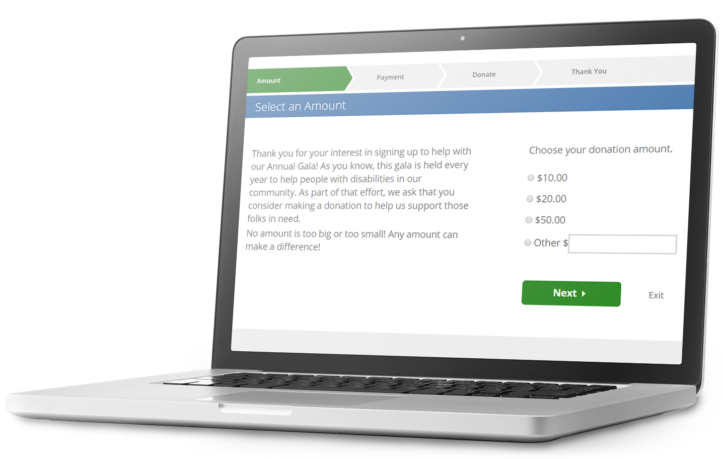 Screenshot of Fundraising and Donate Functionalities with VolunteerHub software on a laptop