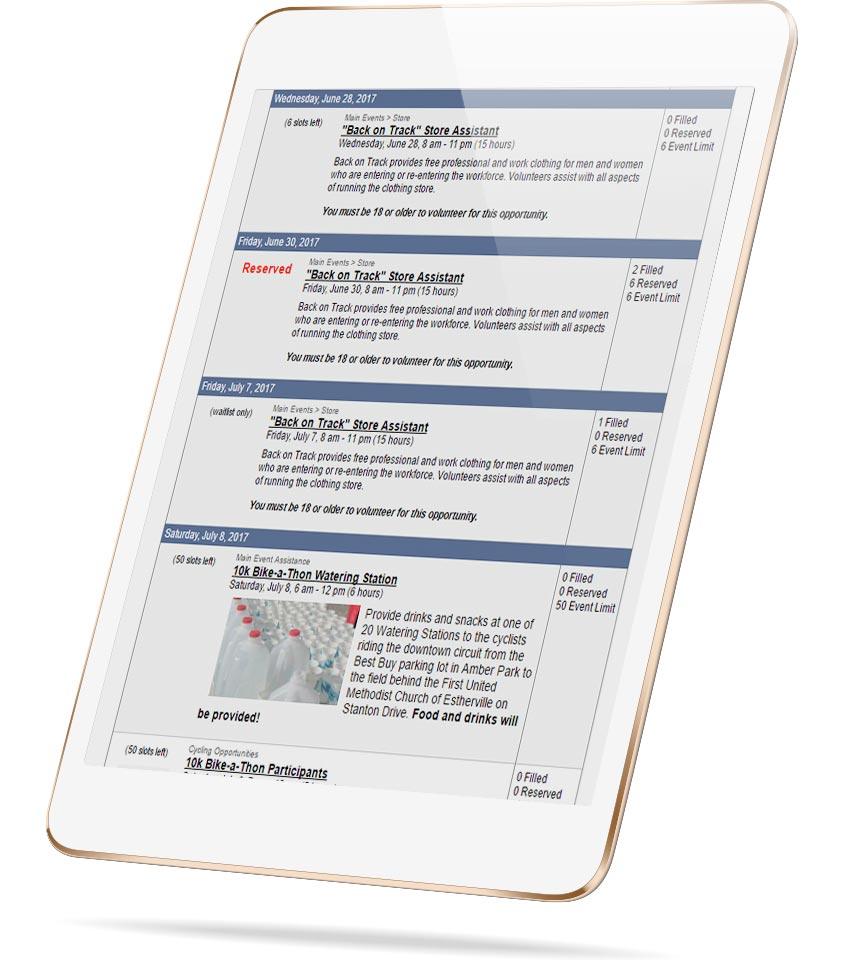 screenshot of VolunteerHub Calendar Functionality for Religious Organizations on a tablet