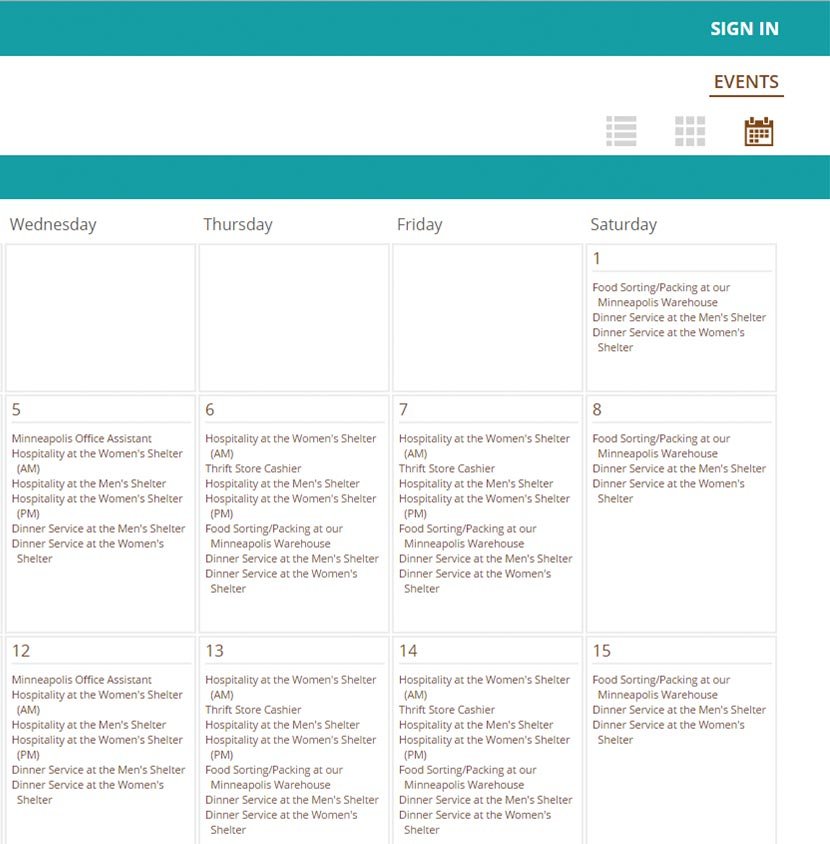 Screenshot of Calendar Events Organization via the Event And Volunteer Management feature on VolunteerHub