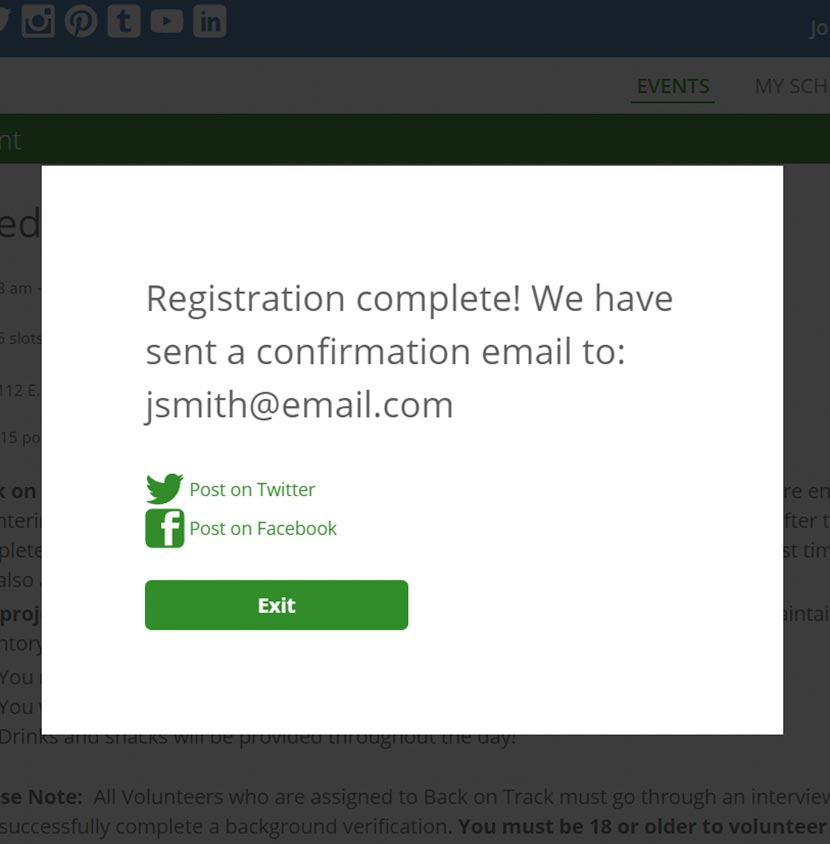Screenshot of Registration Confirmation Pop-Up page via the Event And Volunteer Management features of VolunteerHub