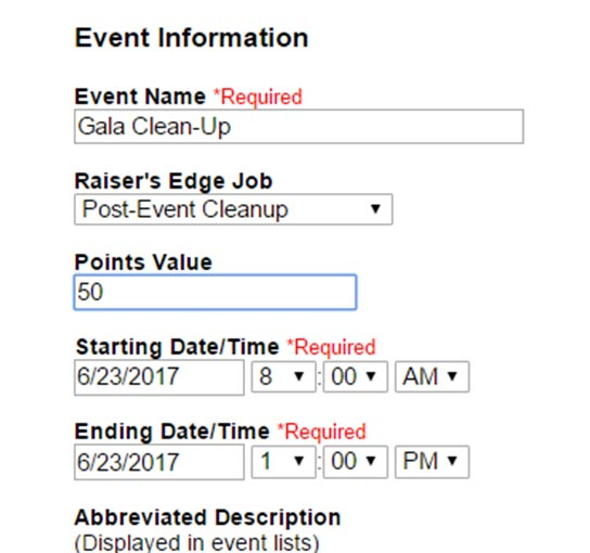 Screenshot of Event Information to Set Up Point based Volunteer Rewards and Recognition on VolunteerHub