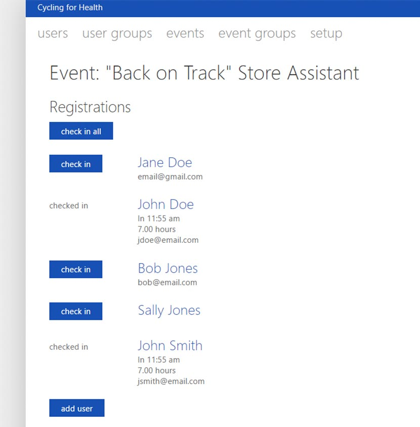 Screenshot of VolunteerHub Event Management Single Sign-On Software Functionality