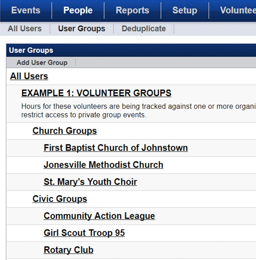 Screenshot of Team Organization User Groups on VolunteerHub software