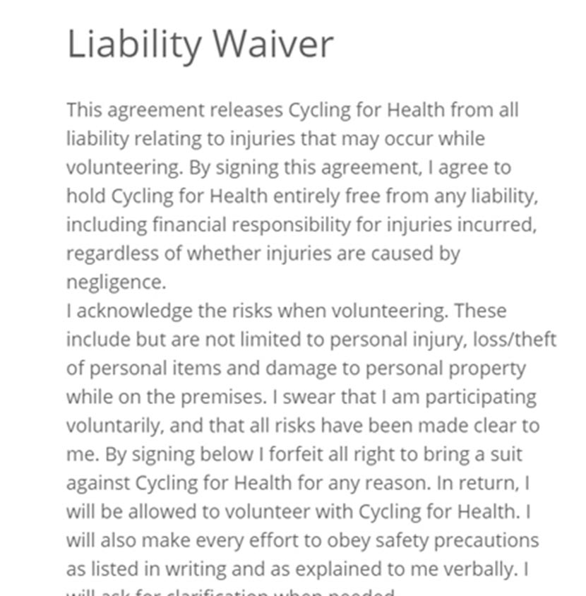 Screenshot of adult Liability Waiver Tracking on VolunteerHub software