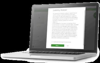 Screenshot of the Liability Waiver Tracking Functionality on VolunteerHub