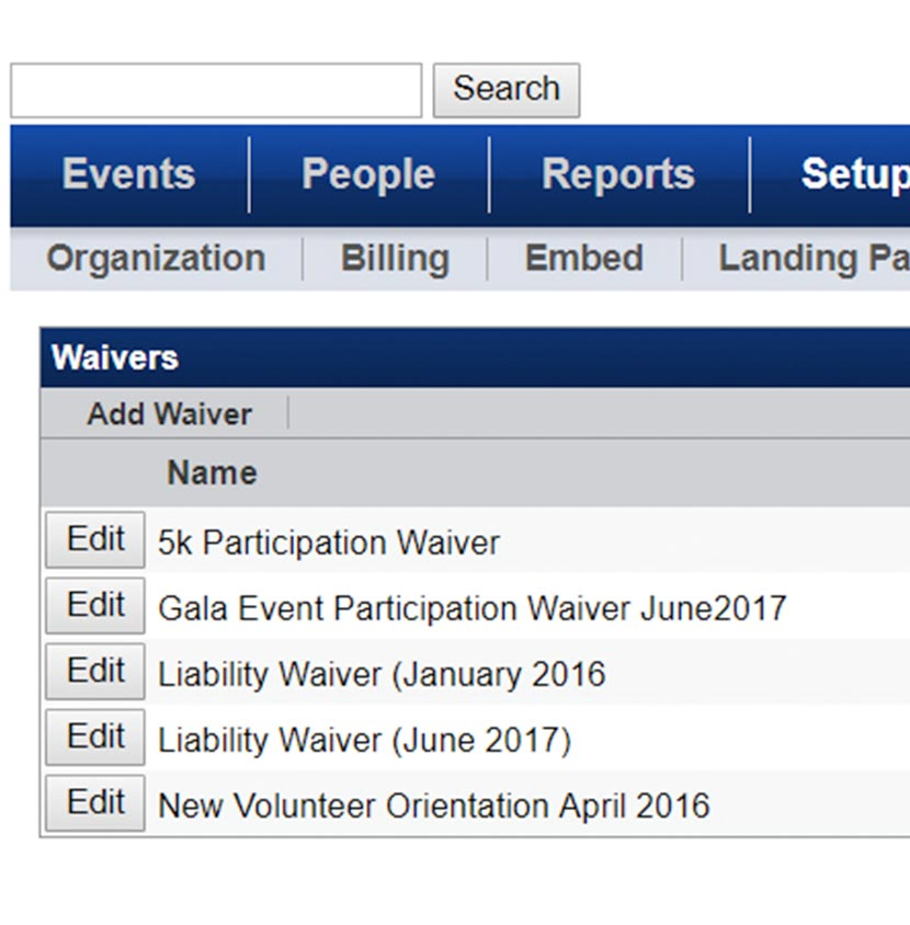Screenshot of Waiver Tracking Overview on VolunteerHub software